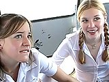 Teen Girls Double Team Teacher On Bus